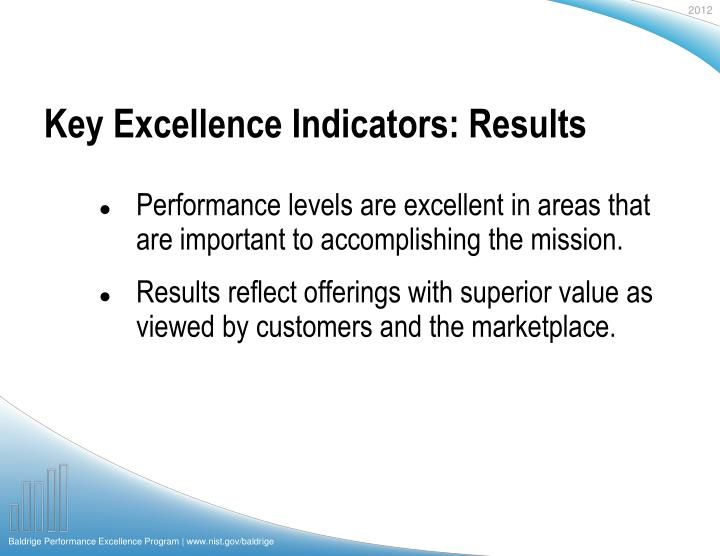 Key Excellence Indicators: Results