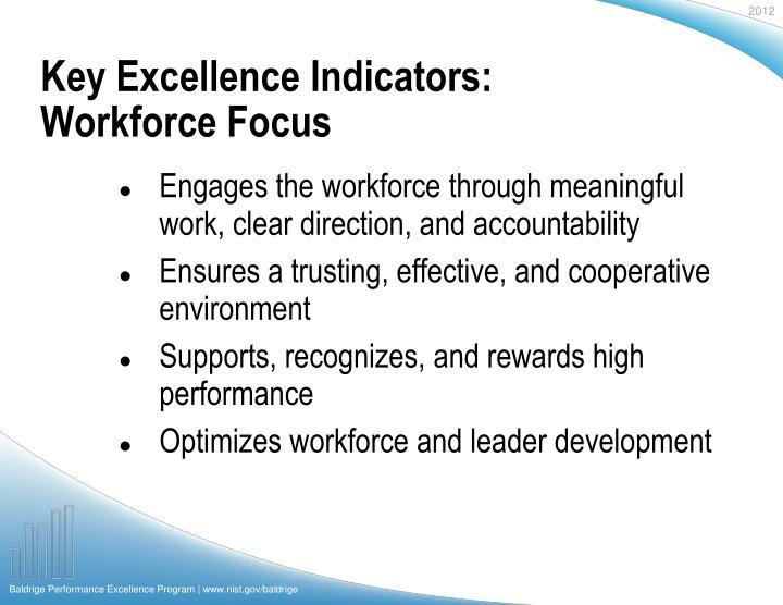 Key Excellence Indicators: Workforce Focus