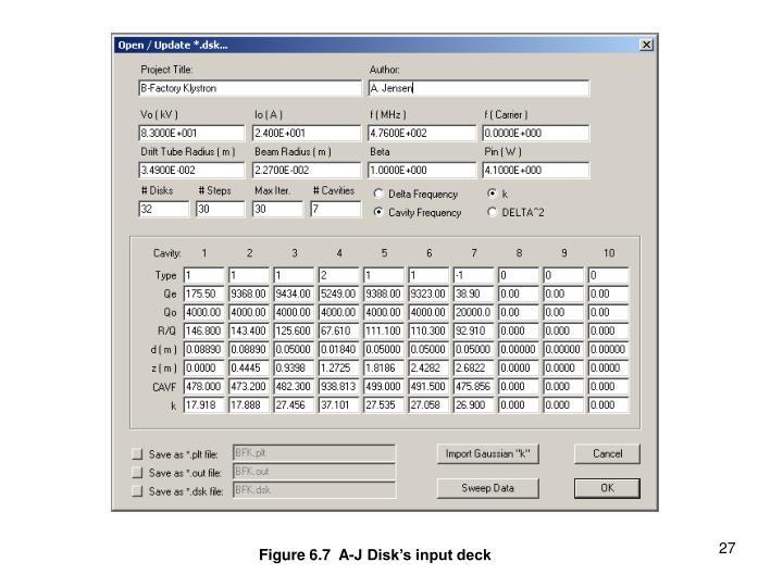 Figure 6.7  A-J Disk's input deck