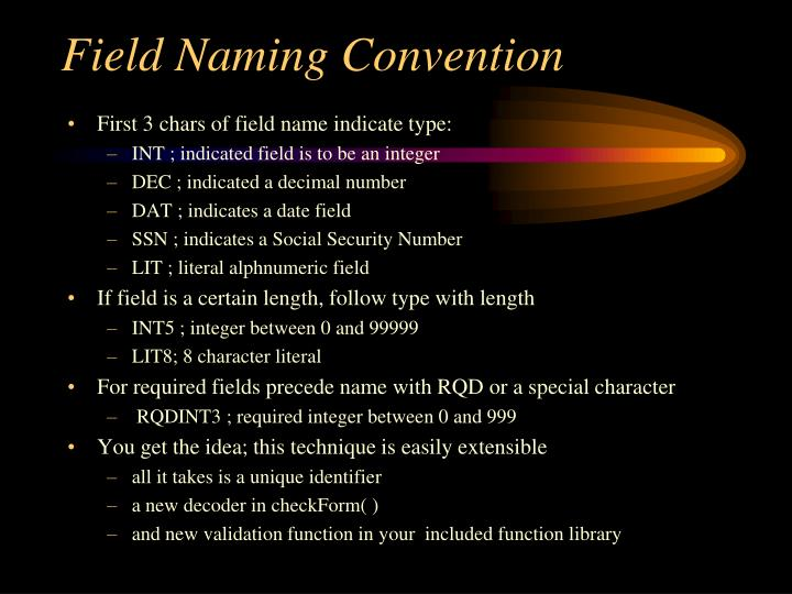 Field Naming Convention
