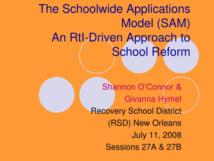 The Schoolwide Applications Model (SAM)