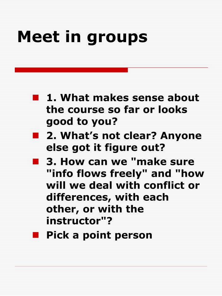 Meet in groups