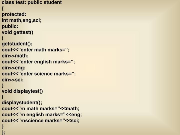 class test: public student