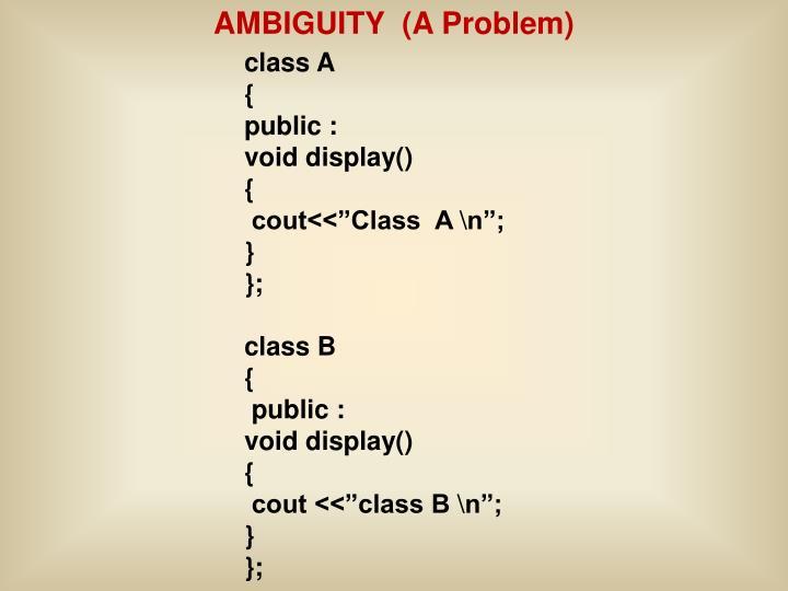 AMBIGUITY  (A Problem)