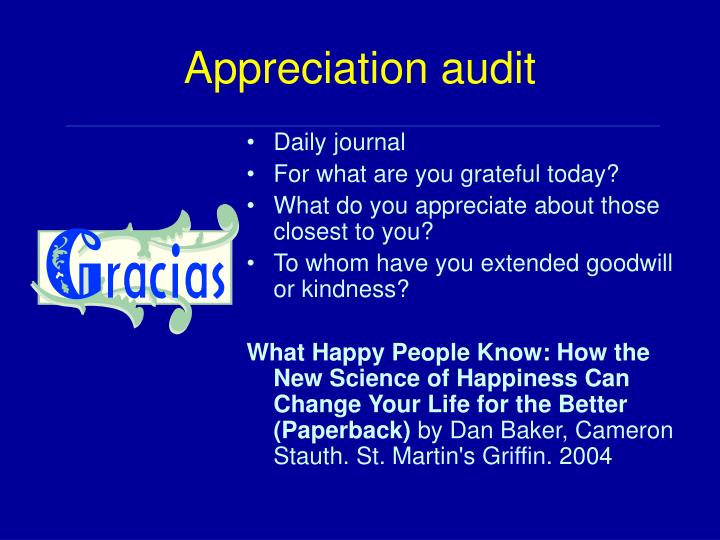 Appreciation audit