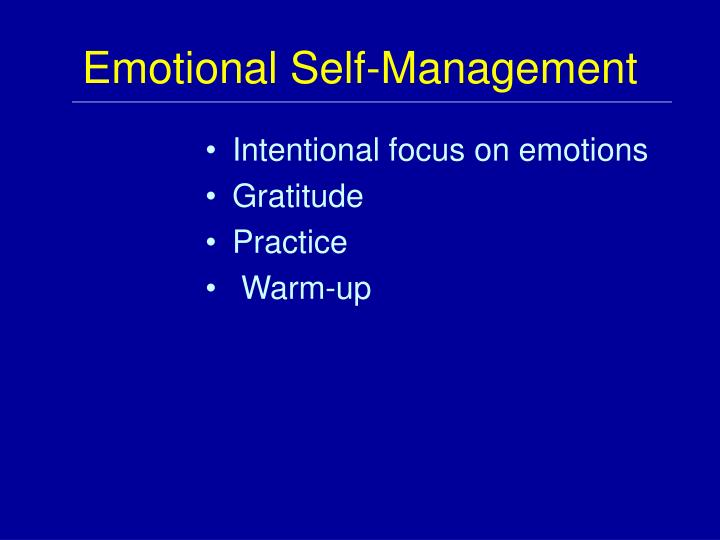 Emotional Self-Management
