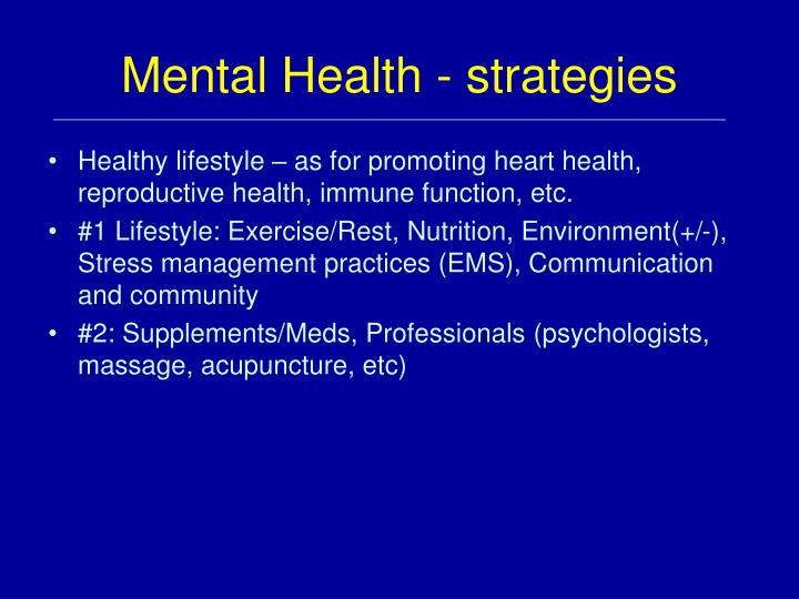 Mental Health - strategies