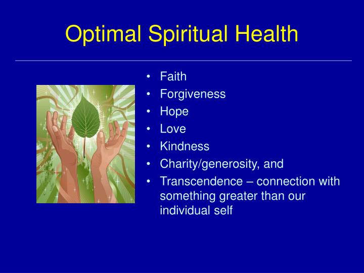 Optimal Spiritual Health