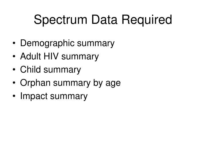 Spectrum Data Required