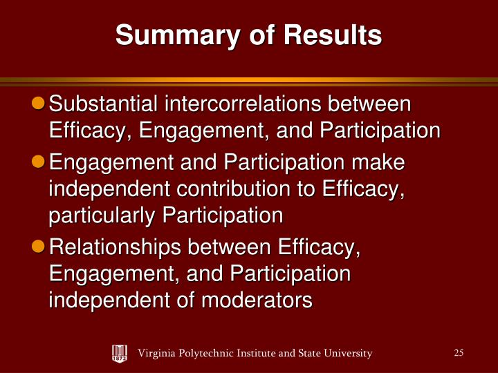 Substantial intercorrelations between Efficacy, Engagement, and Participation