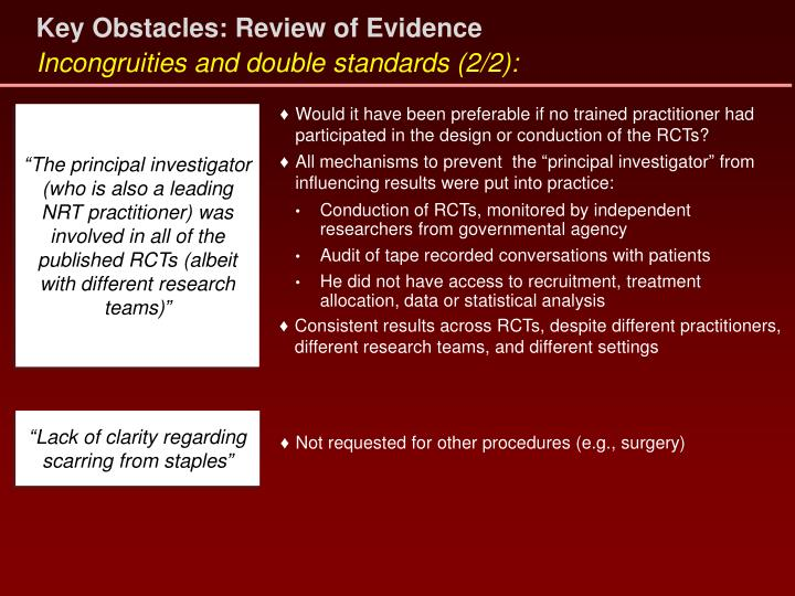 Key Obstacles: Review of Evidence