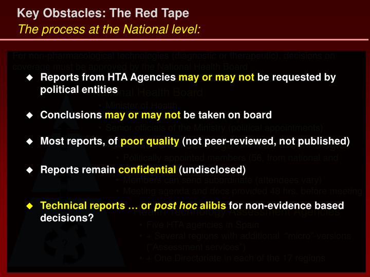 Key Obstacles: The Red Tape