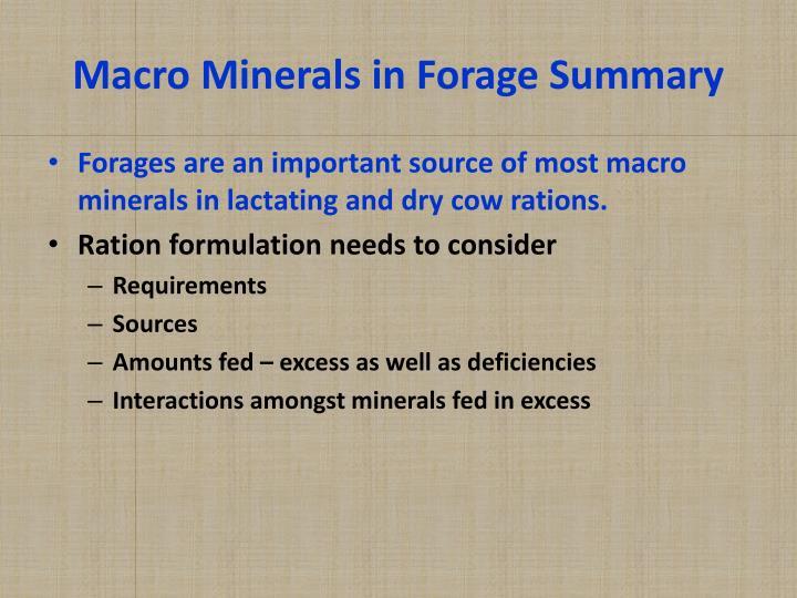 Macro Minerals in Forage Summary