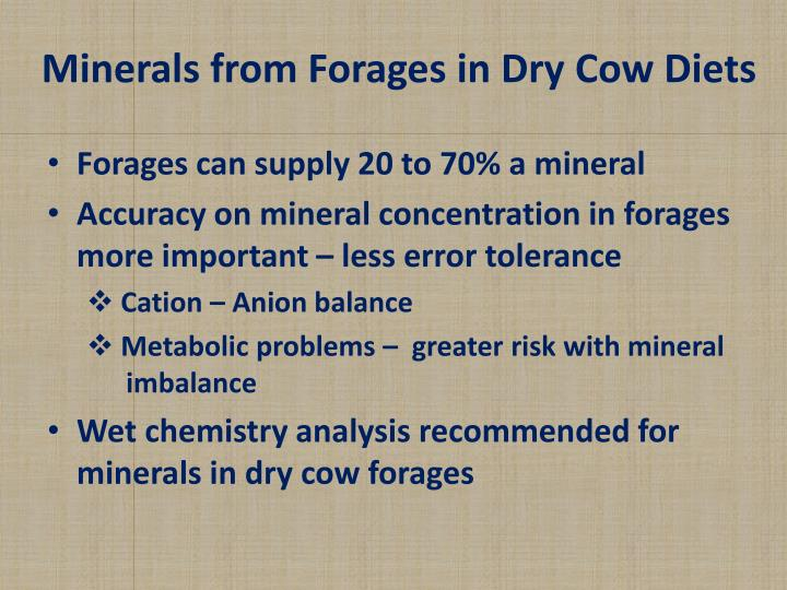 Minerals from Forages in Dry