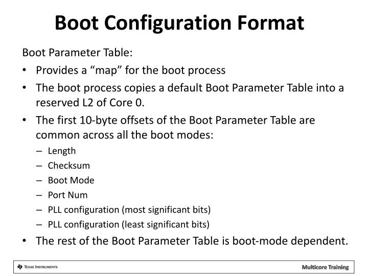 Boot Configuration Format