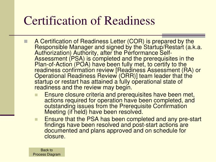Certification of Readiness