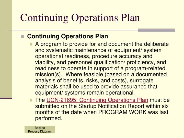 Continuing Operations Plan