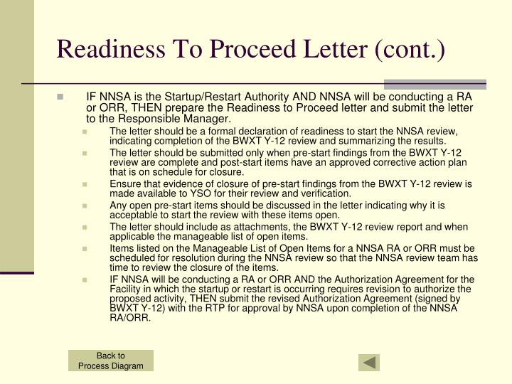 Readiness To Proceed Letter (cont.)