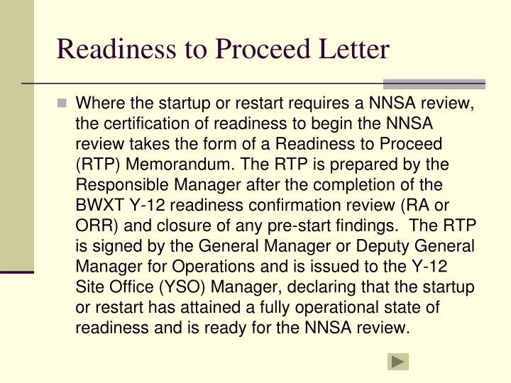 Readiness to Proceed Letter