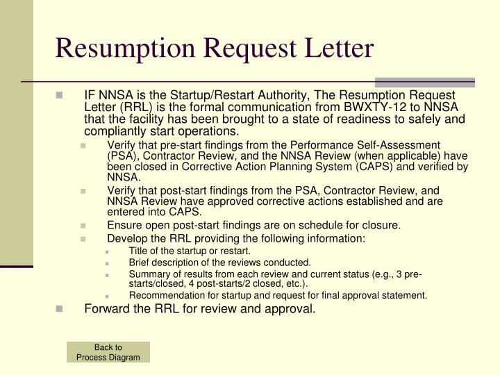 Resumption Request Letter