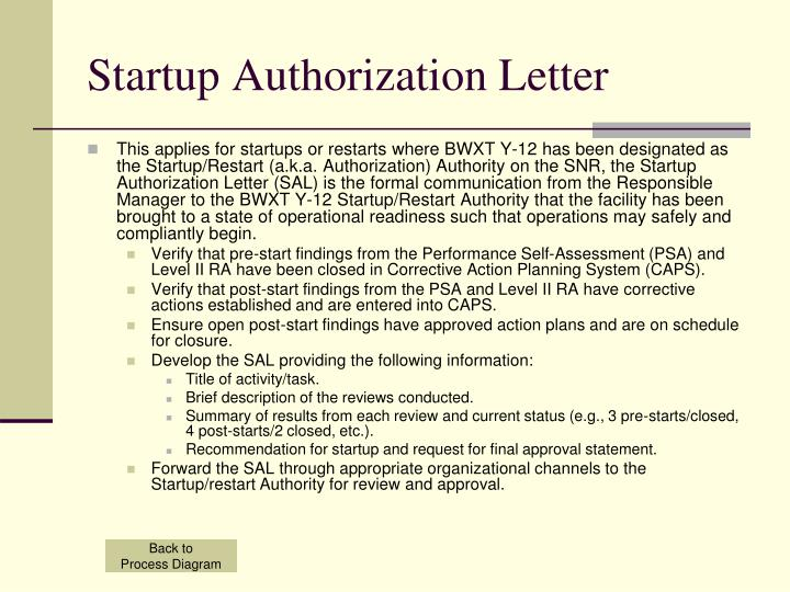 Startup Authorization Letter
