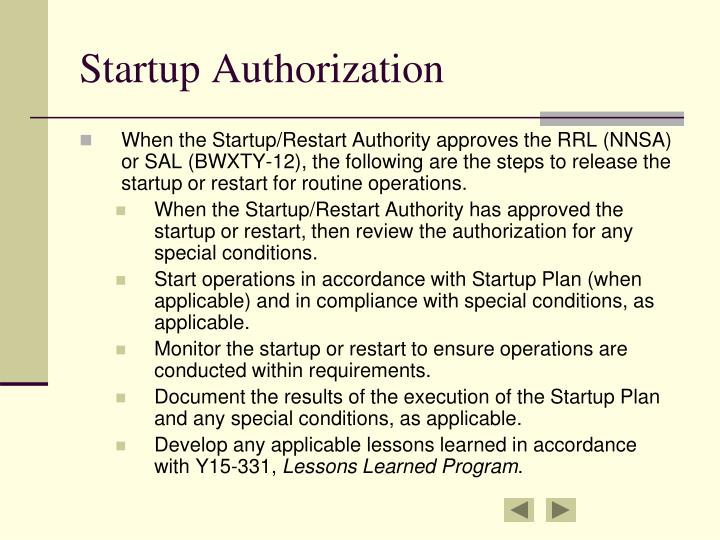 Startup Authorization