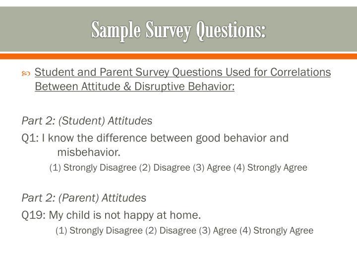 Sample Survey Questions: