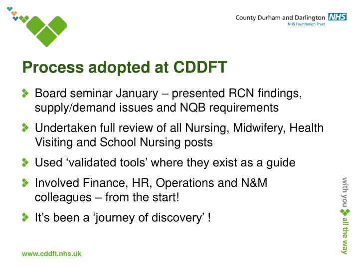 Process adopted at CDDFT