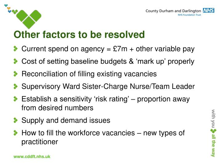 Other factors to be resolved