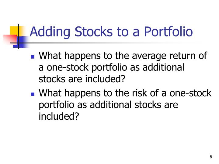 Adding Stocks to a Portfolio