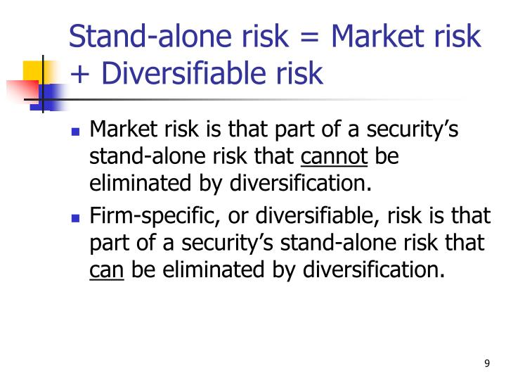 Stand-alone risk = Market risk + Diversifiable risk