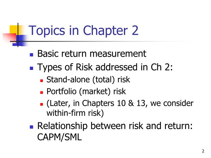 Topics in chapter 2