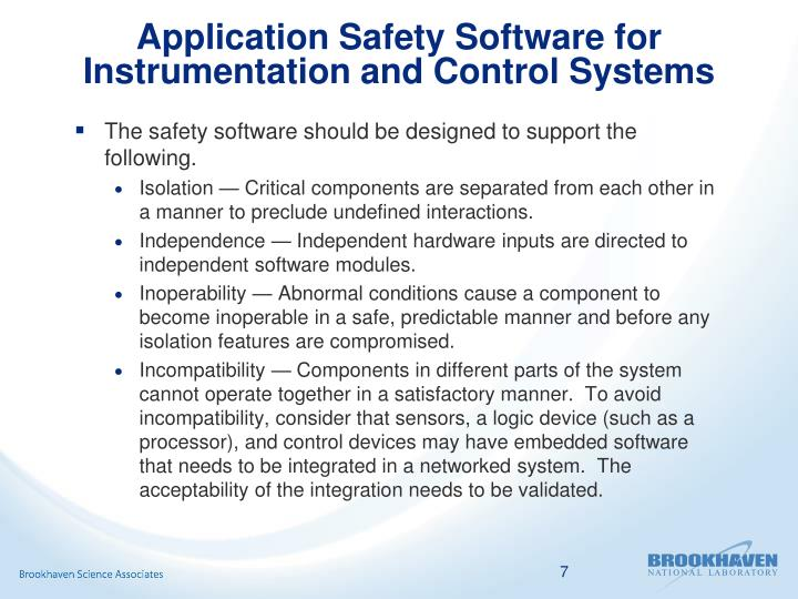 Application Safety Software for Instrumentation and Control Systems