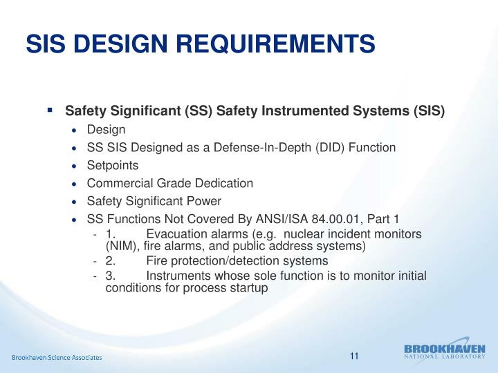 SIS DESIGN REQUIREMENTS