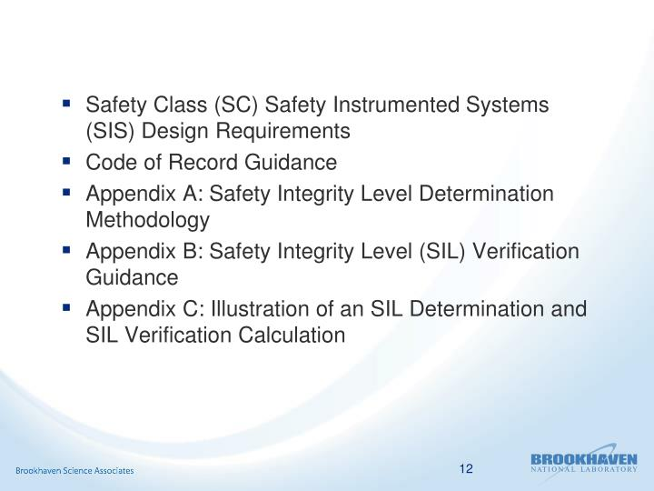 Safety Class (SC) Safety Instrumented Systems (SIS) Design Requirements