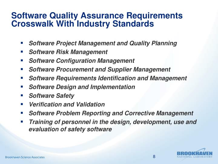 Software Quality Assurance Requirements Crosswalk With Industry Standards