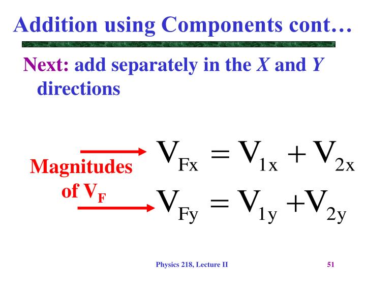 Addition using Components cont…