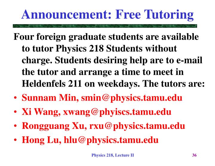 Announcement: Free Tutoring