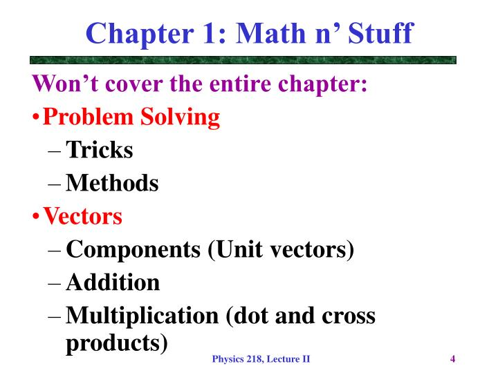 Chapter 1: Math n' Stuff