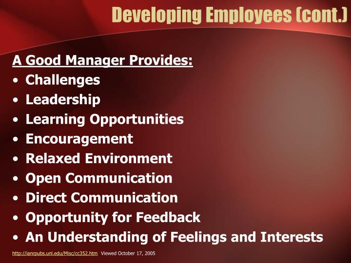Developing Employees (cont.)