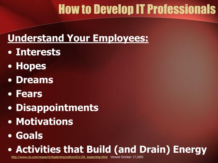 How to Develop IT Professionals
