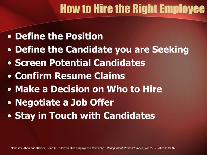 How to Hire the Right Employee