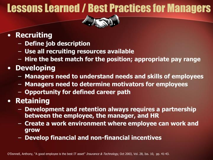 Lessons Learned / Best Practices for Managers