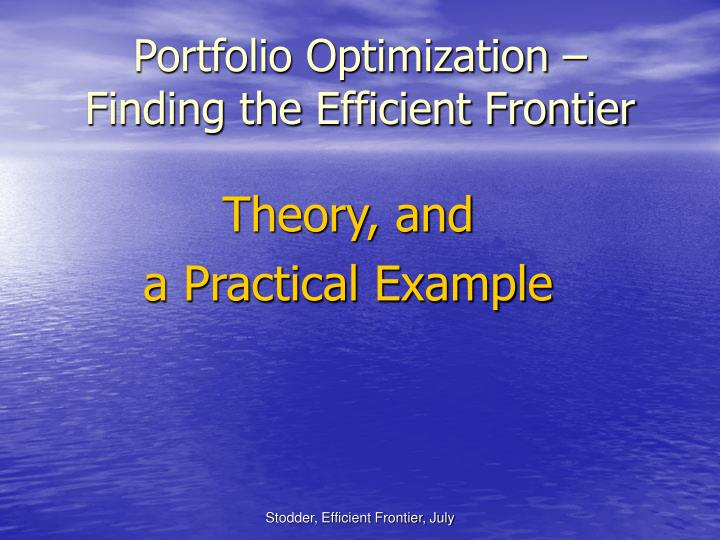 Portfolio optimization finding the efficient frontier