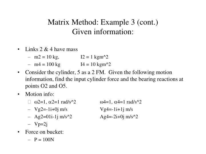 Matrix Method: Example 3 (cont.)