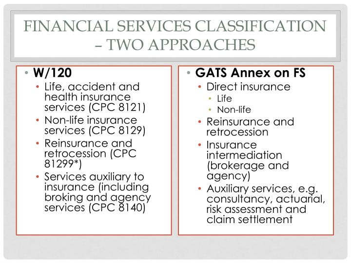 Financial Services classification – two approaches