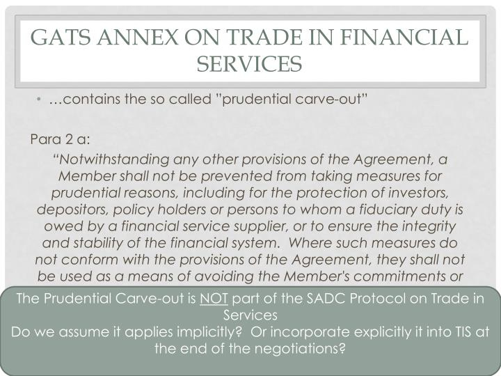 GATS Annex on Trade in Financial Services
