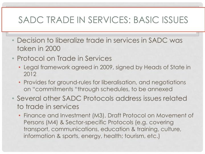 SADC Trade in Services: Basic Issues
