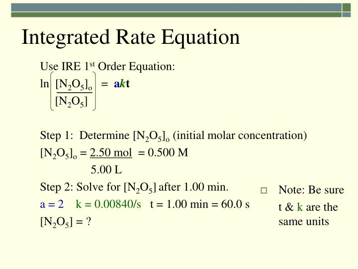 Integrated Rate Equation
