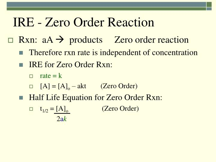 IRE - Zero Order Reaction